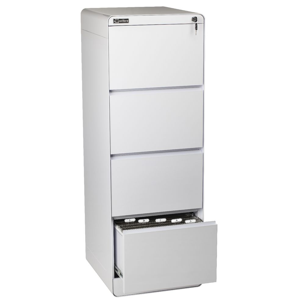 Excalibre 4 Drawer Filing Cabinet White | Officeworks
