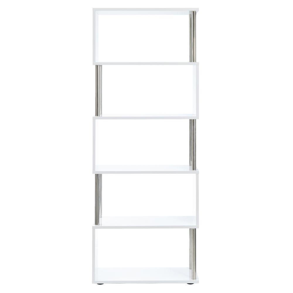 Halcyon Chrome And Gloss 5 Shelf Bookcase White