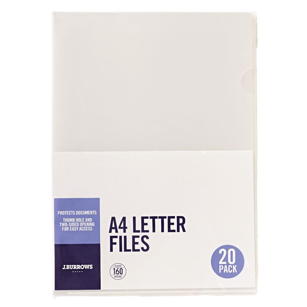 Letter Box Cover B Q: J.Burrows Letter File A4 Clear 20 Pack