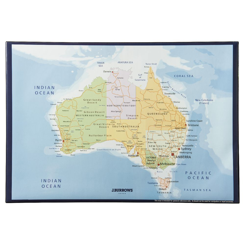 Map Of Australia Desert.J Burrows Desk Mat Map Of Australia 435 X 620mm Officeworks