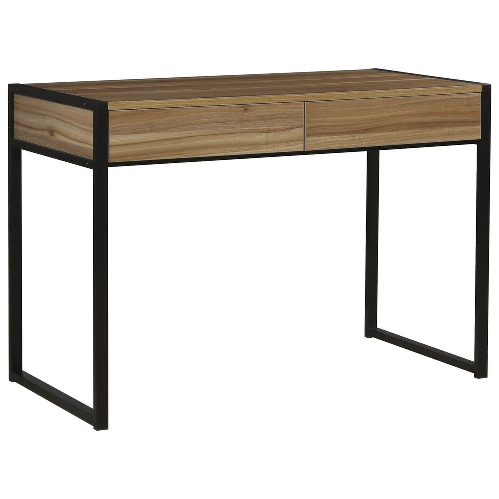 Sheffield 2 Drawer Desk Black/Walnut