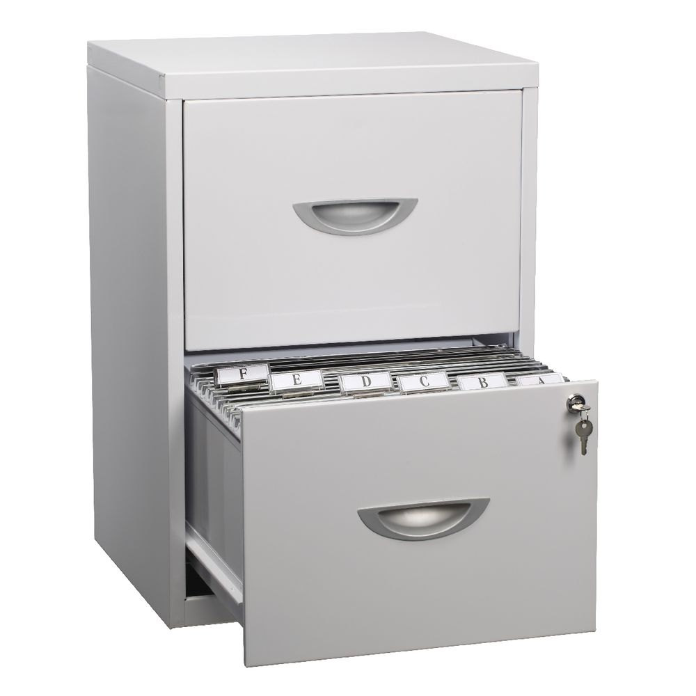 Soho 2 Drawer Filing Cabinet White | Officeworks