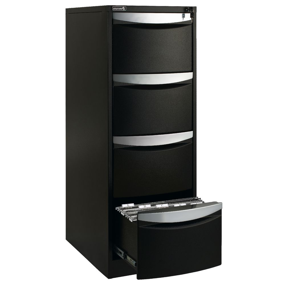 Stilford 4 Drawer Filing Cabinet Black | Officeworks