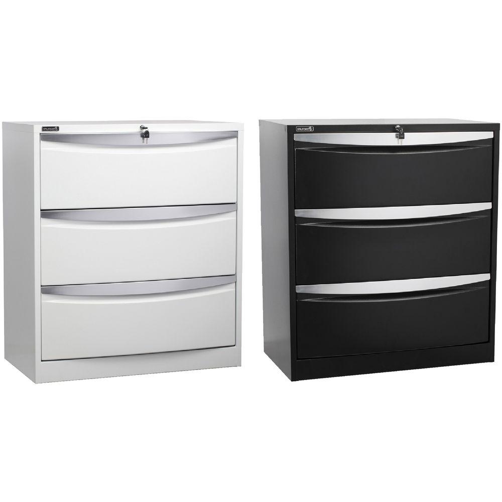 Stilford 3 Drawer Lateral Filing Cabinet Black | Officeworks