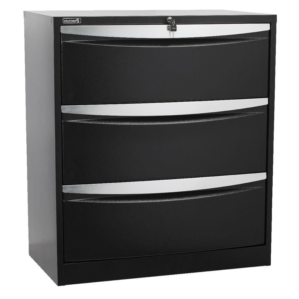 stilford 3 drawer lateral filing cabinet black | officeworks