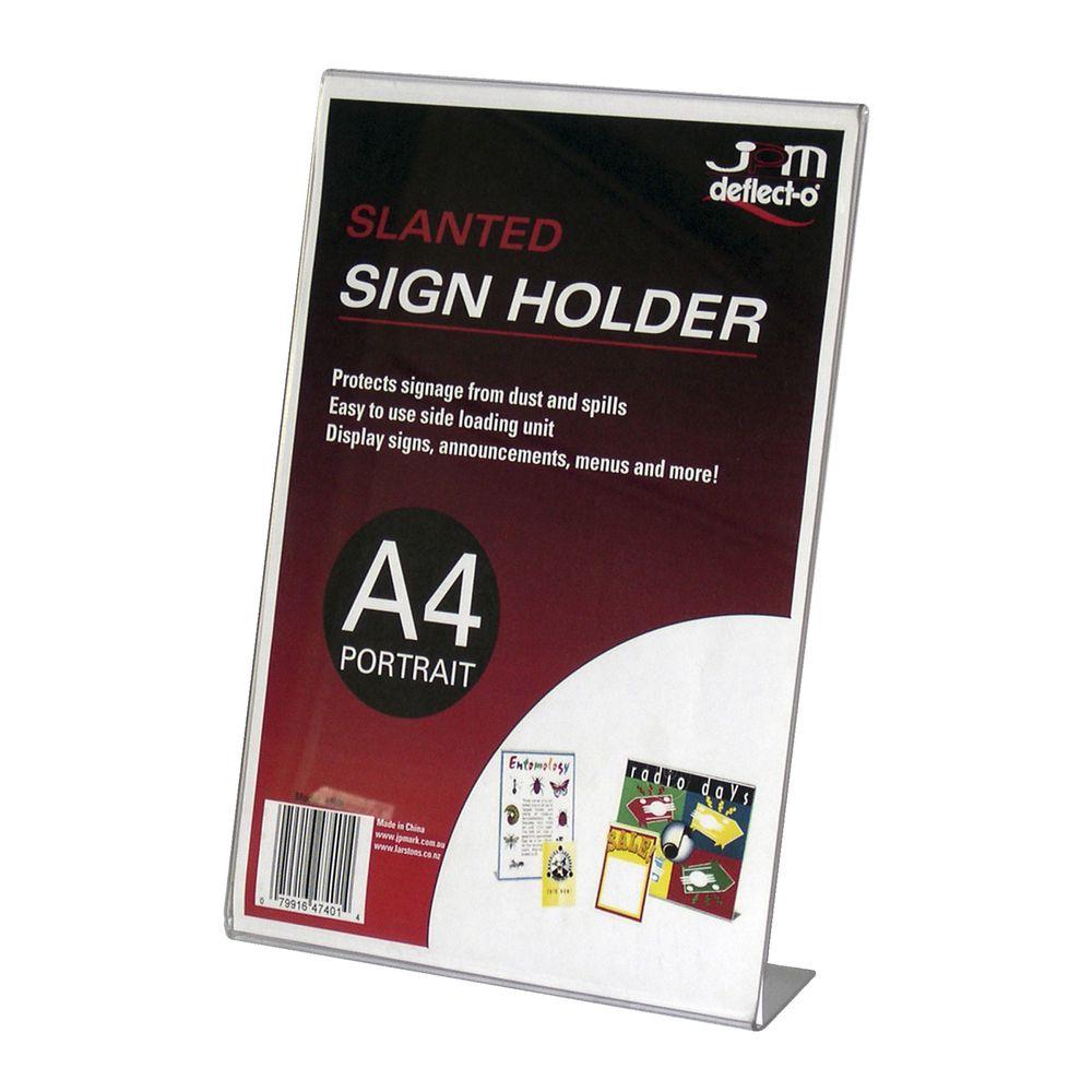 deflecto slanted a4 sign holder portrait