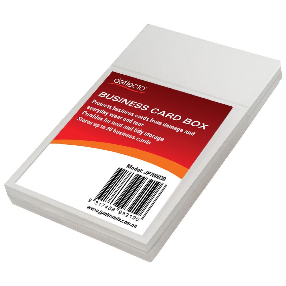 deflect-O Slimline Business Card Storage Box Clear | Officeworks