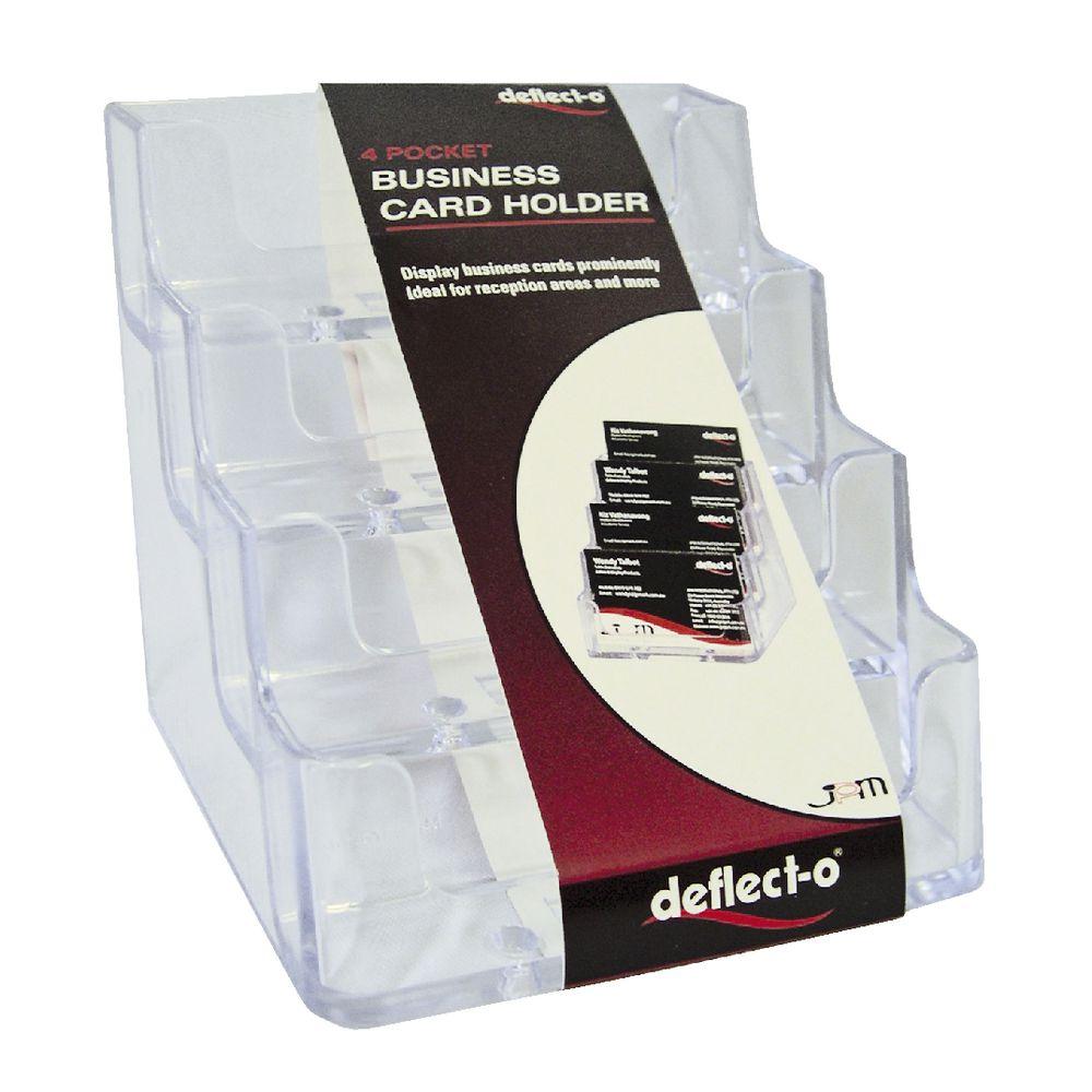 deflect-O 4 Pocket Business Card Holder Landscape | Officeworks