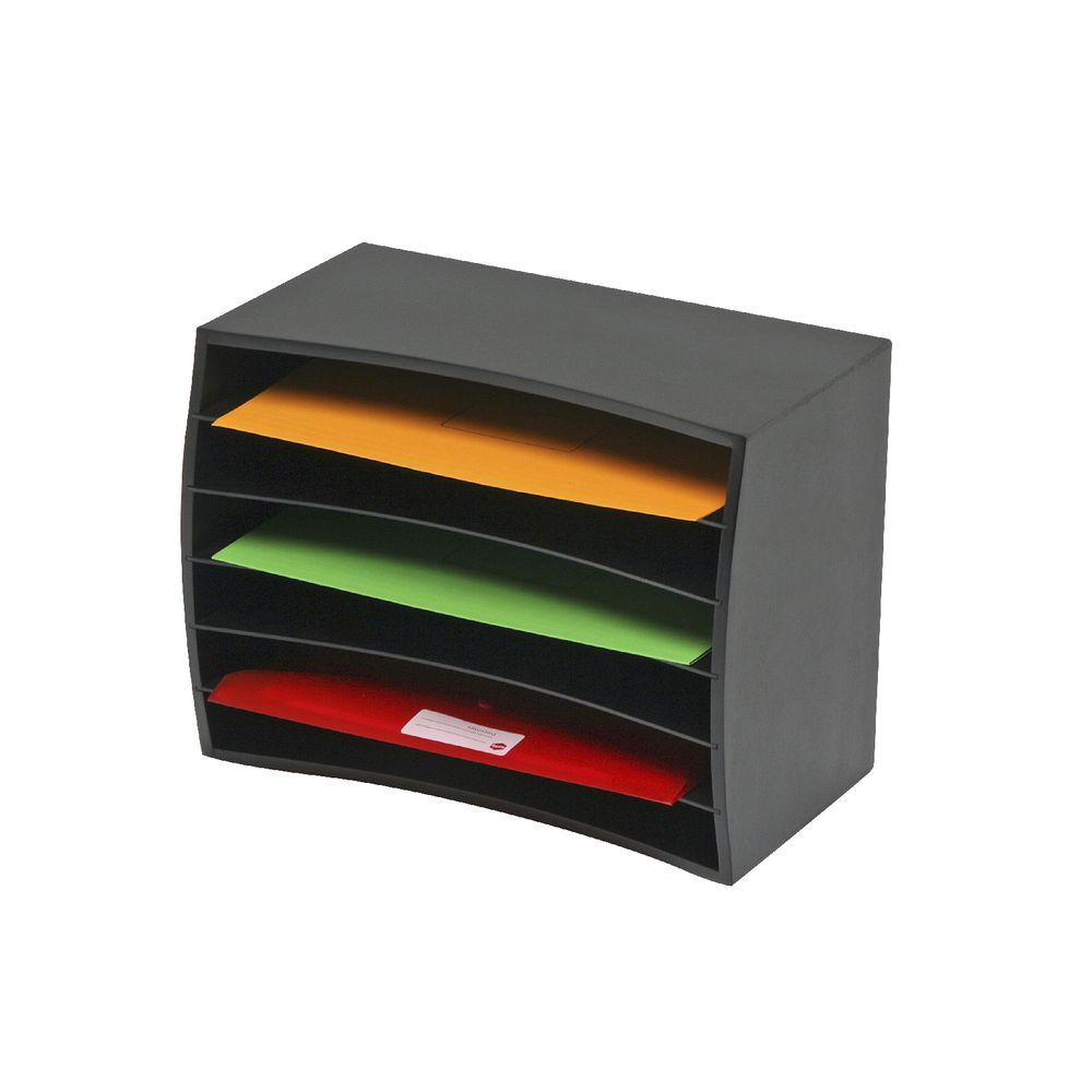Marbig 6 tier desktop organiser wood black officeworks - Officeworks desktop ...