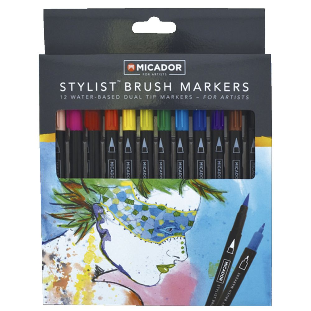 Micador For Artist Stylist Brush Markers 12 Pack
