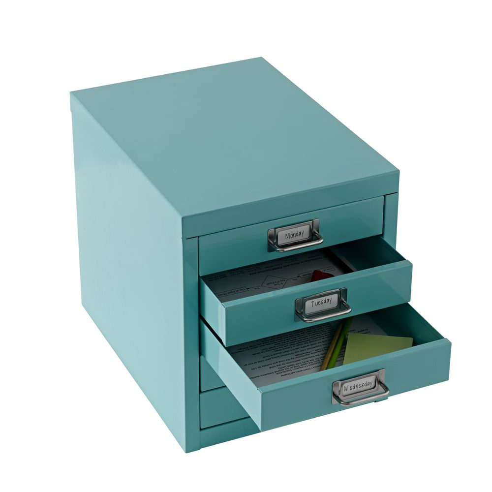 Spencer 5 Drawer Desktop Cabinet Aqua Officeworks