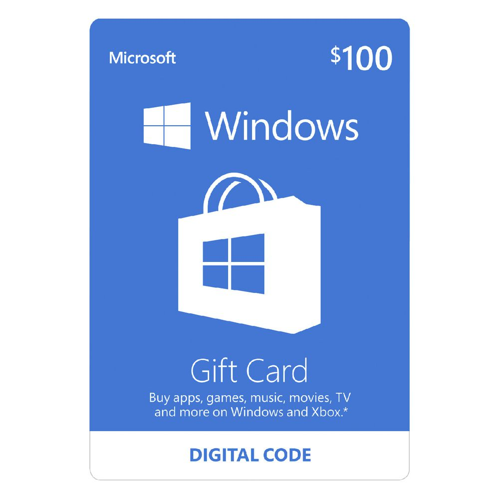 gift cards officeworks microsoft windows store digital giftcard 100