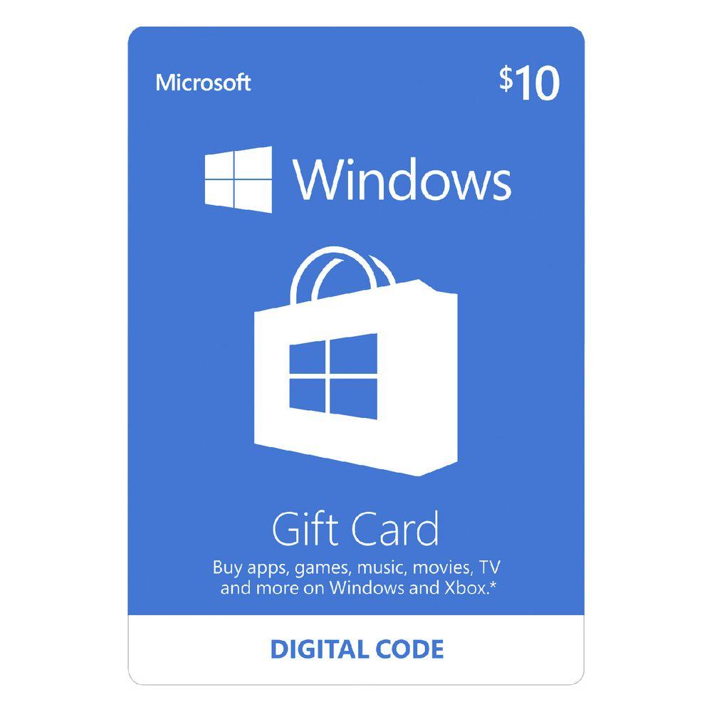 Microsoft Windows Store Digital Download Giftcard $10