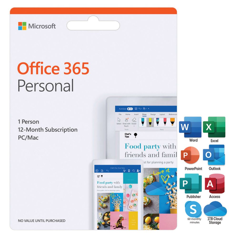 Microsoft Office 365 Personal 1 Person 12 Months Card