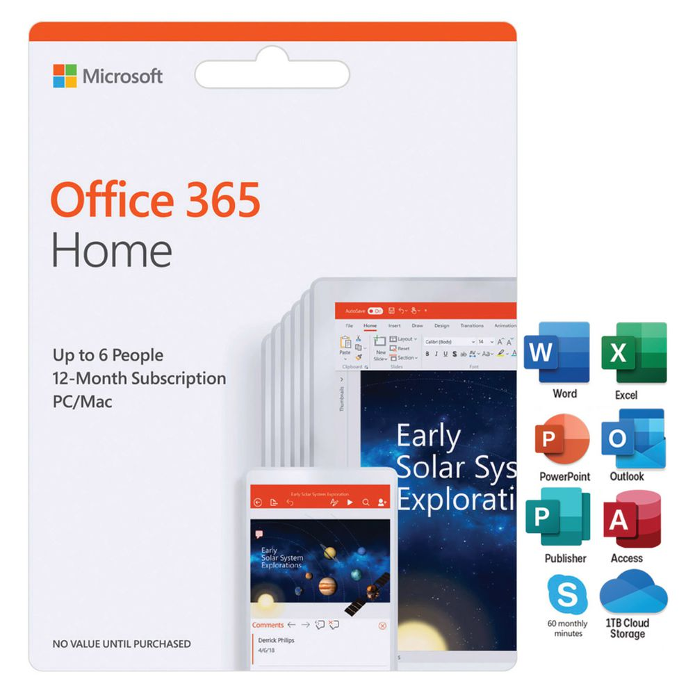 Microsoft Office 365 Home Up To 6 People 12 Months Card Officeworks