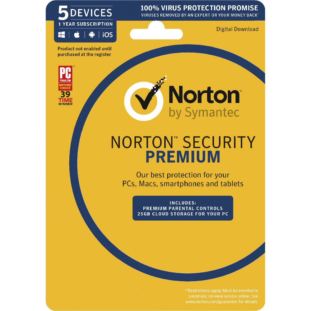 Norton Security Premium 25GB 5 Device 1 Year Download   Officeworks