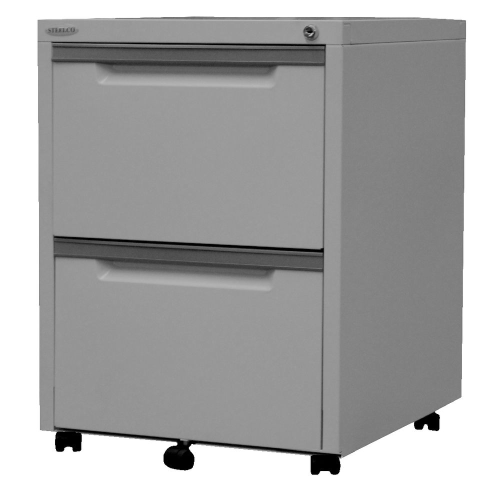 Steelco 2 Drawer Mobile Pedestal Silver Grey | Officeworks
