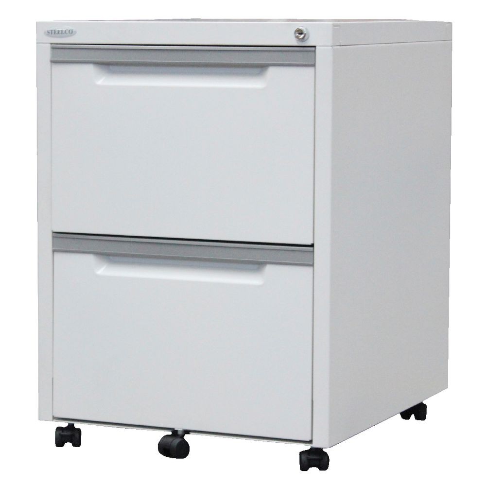 Steelco 2 Drawer Mobile Pedestal White Satin | Officeworks