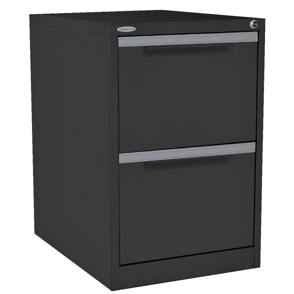 Steelco 2 Drawer Filing Cabinet Graphite Ripple | Officeworks