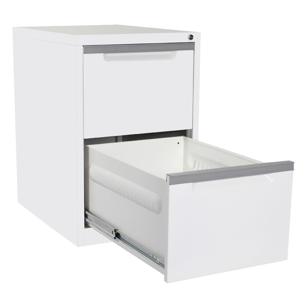 Steelco 2 Drawer Filing Cabinet White Satin | Officeworks