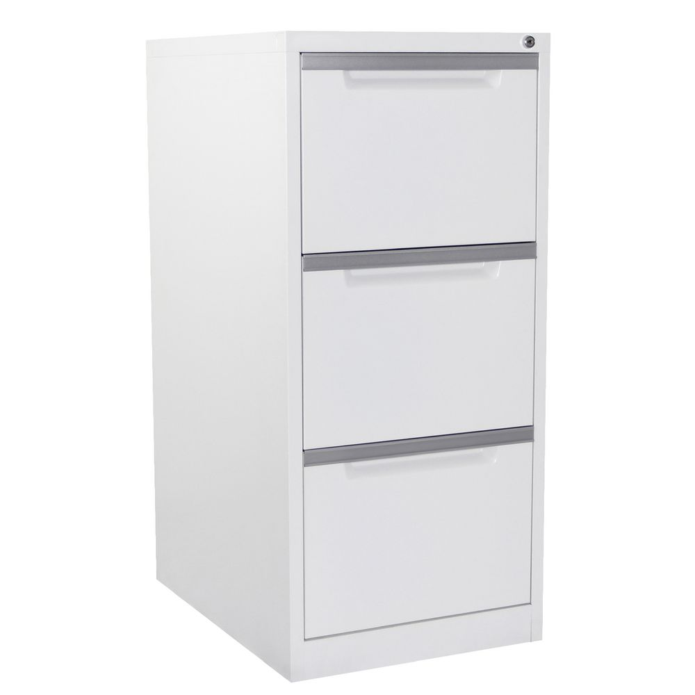 Steelco 3 Drawer Filing Cabinet White Satin | Officeworks