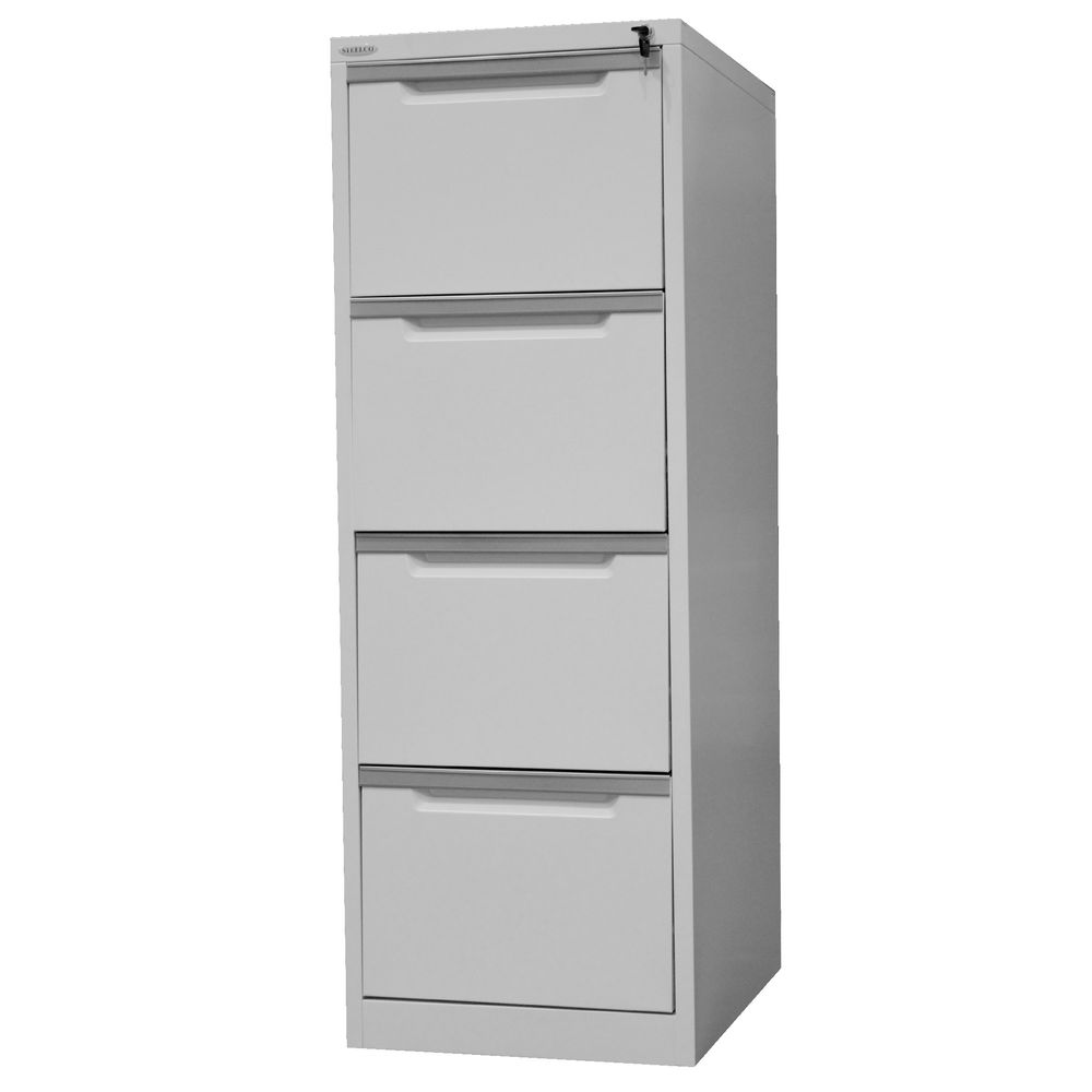 Steelco 4 Drawer Filing Cabinet Silver Grey | Officeworks