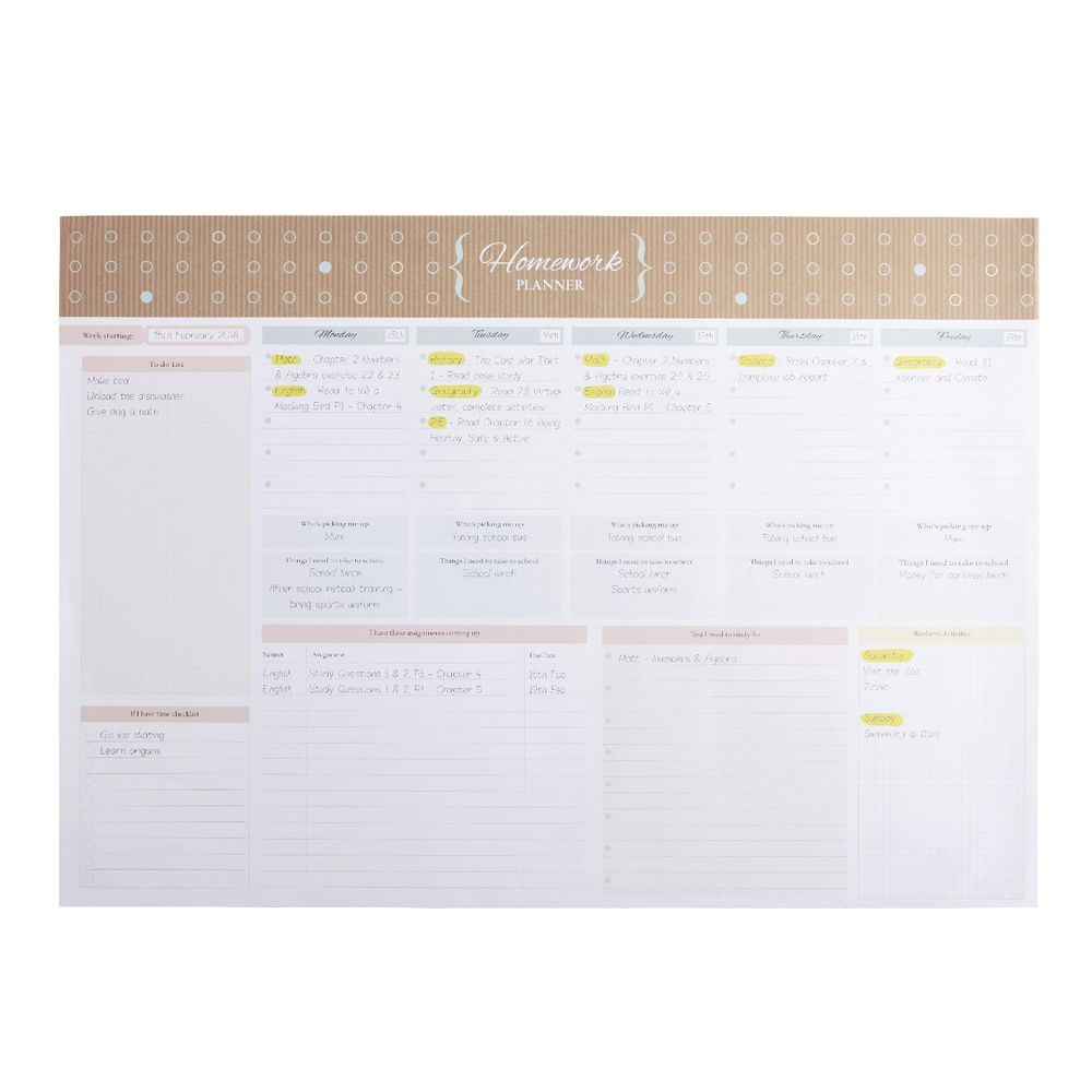 homework planner printables