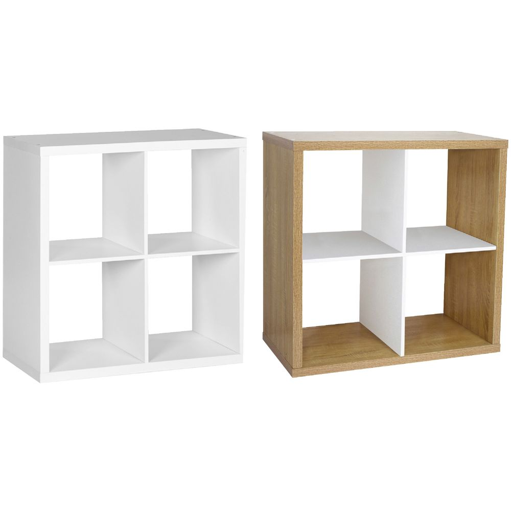 Details about Horsens 4 Cube Bookcase Oak and White