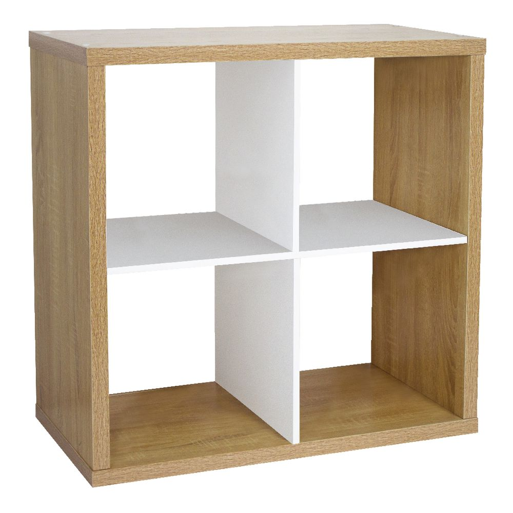 Horsens 4 Cube Bookcase Oak and White | Officeworks