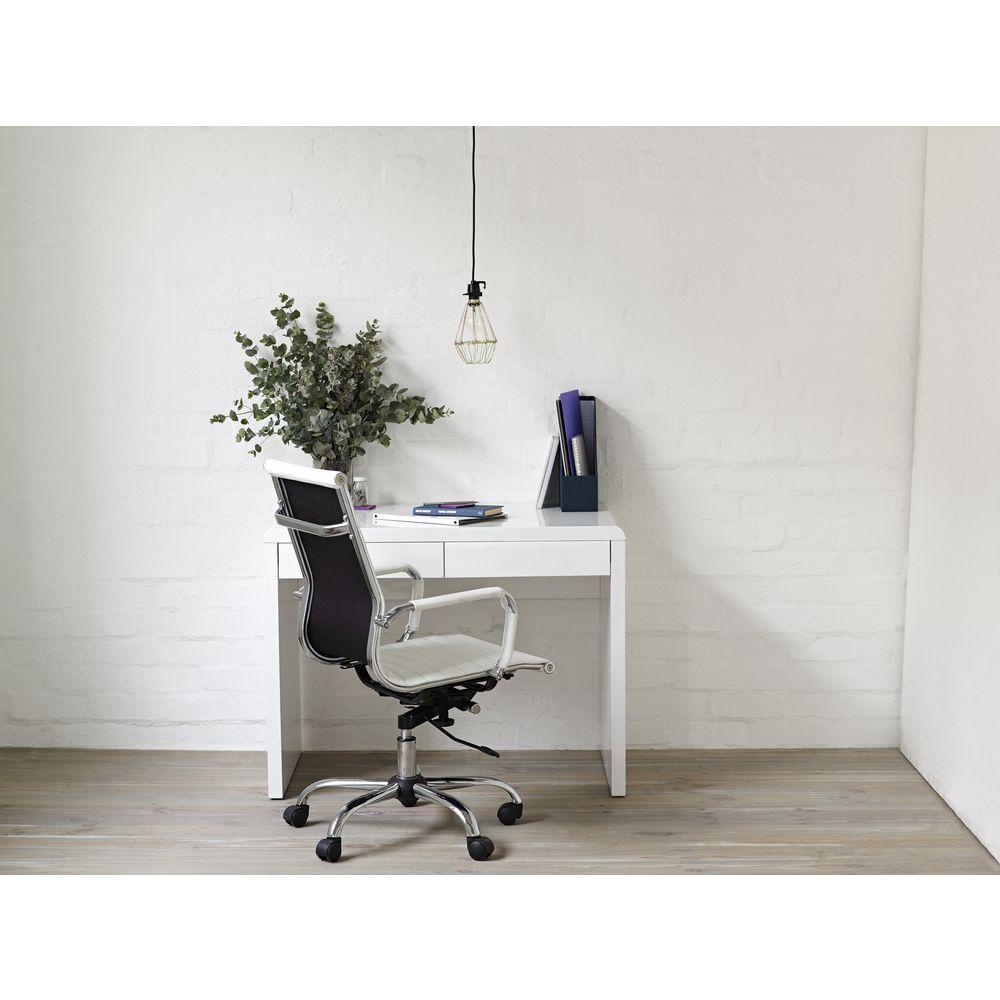 Arc 2 Drawer Desk White