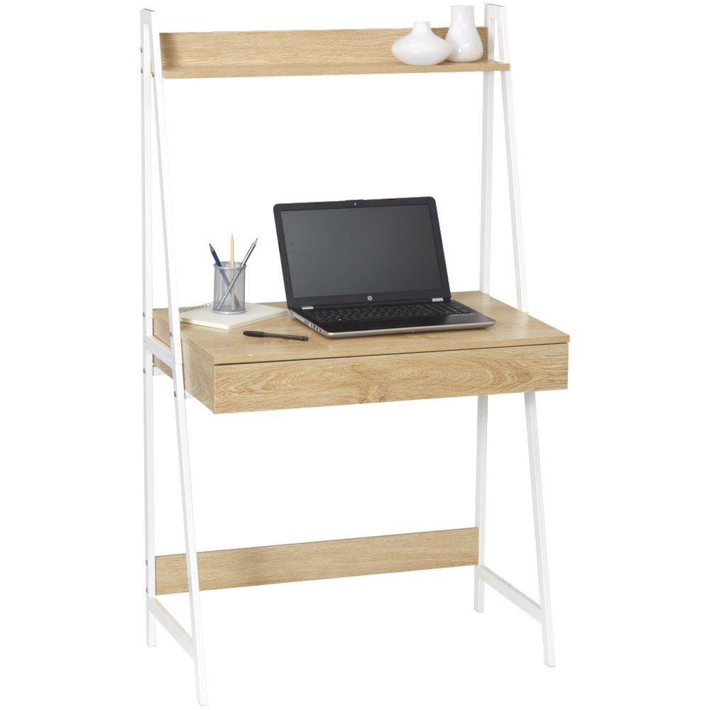 Koge Small Hutch 1 Drawer 800mm Desk Oak White Officeworks