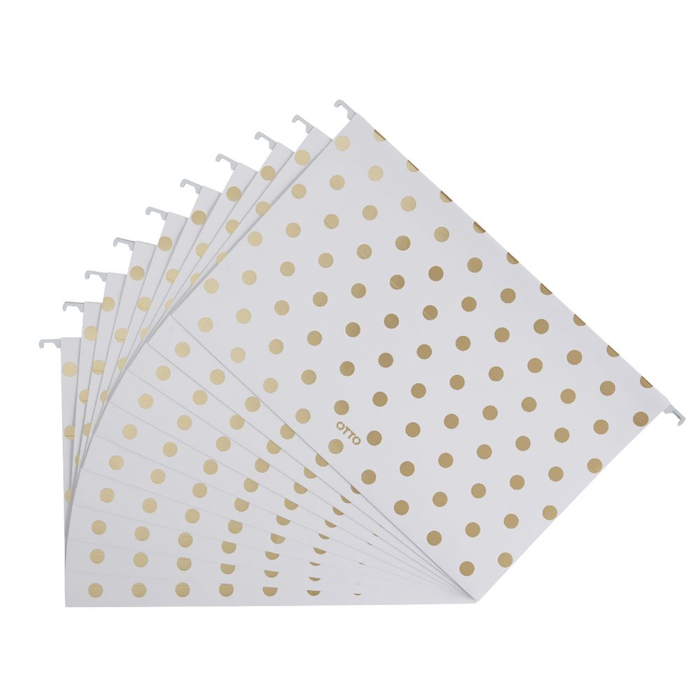 Otto printed suspension file foolscap white and gold 10 for Suspension fille