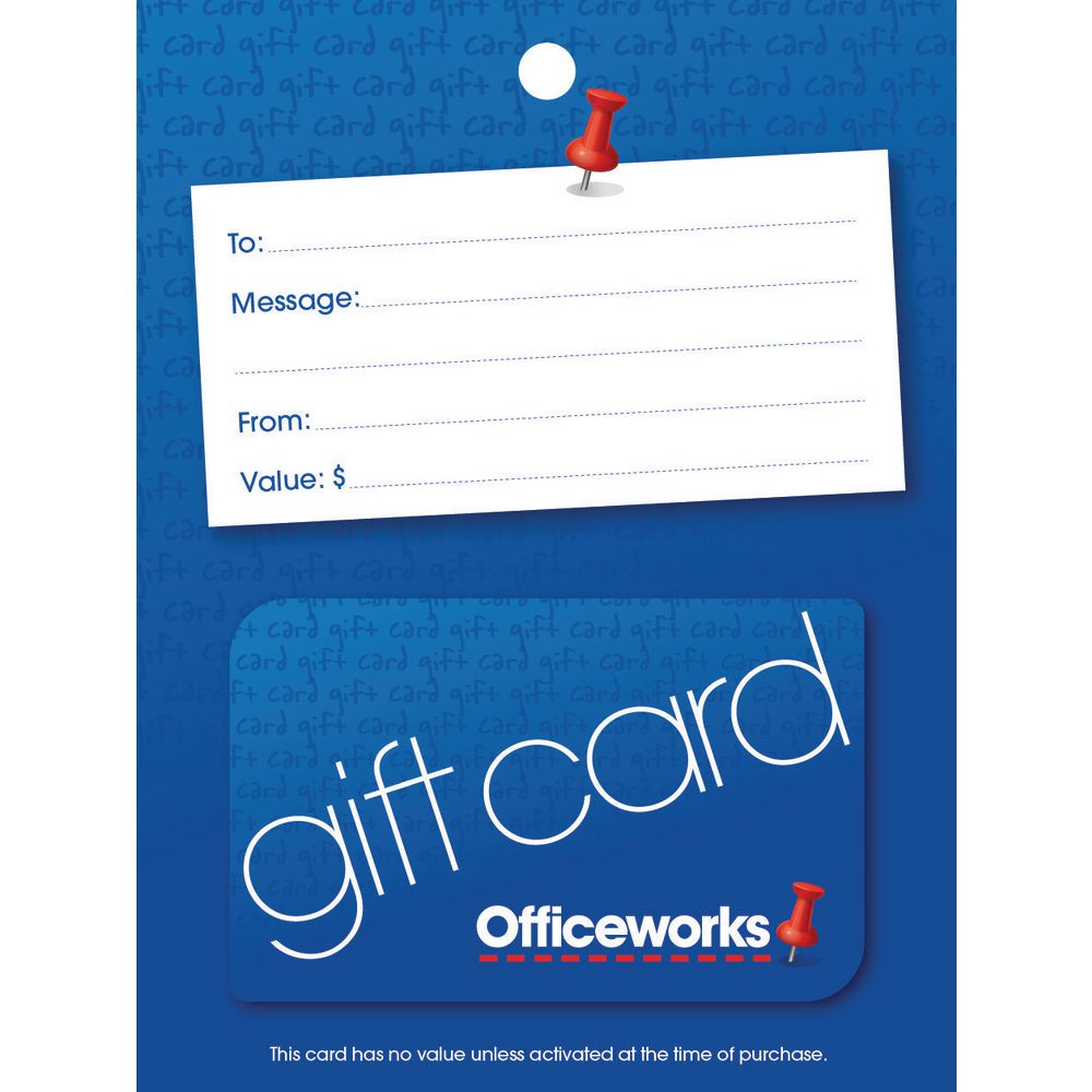 officeworks gift card blue pin 20 officeworks. Black Bedroom Furniture Sets. Home Design Ideas