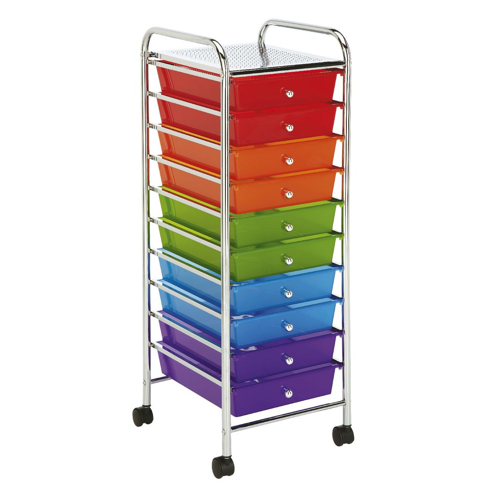 J Burrows 10 Drawer Chrome Trolley Multi Colour Brights