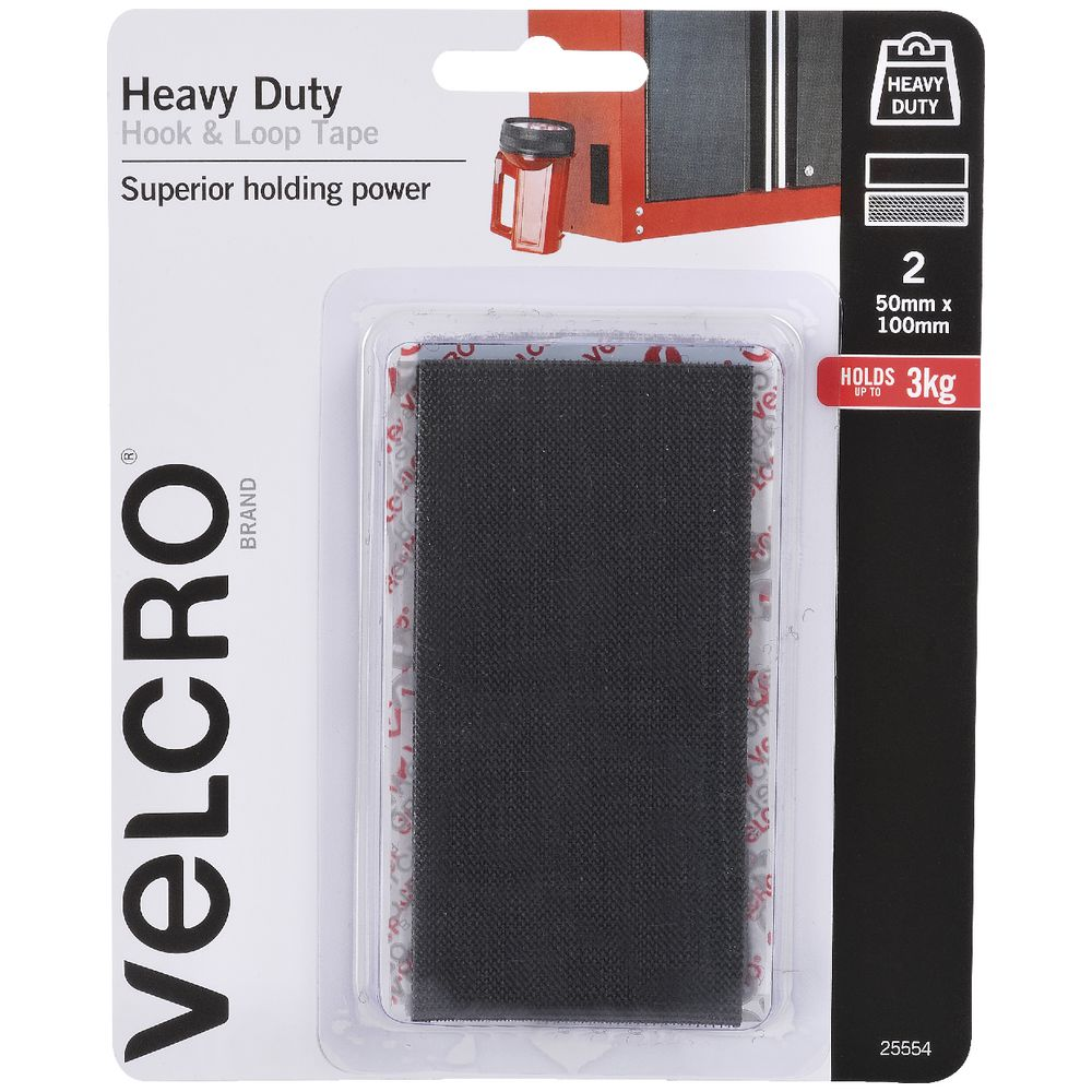 2 x VELCRO BRAND® 50mm x 100mm HEAVY DUTY HOOK /& LOOP SELF ADHESIVE STICKY BACK