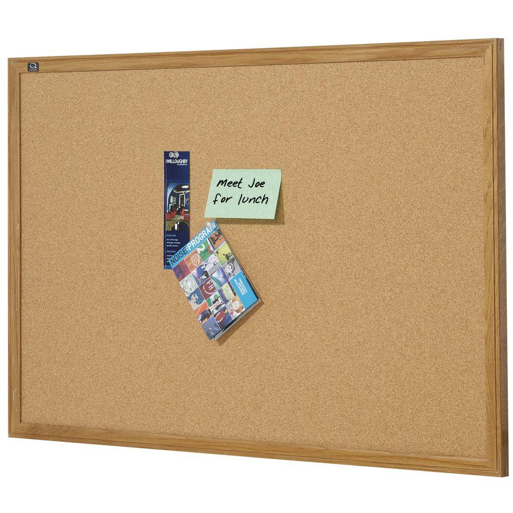 Quartet Oak Frame Cork Board 900 x 600mm | Officeworks