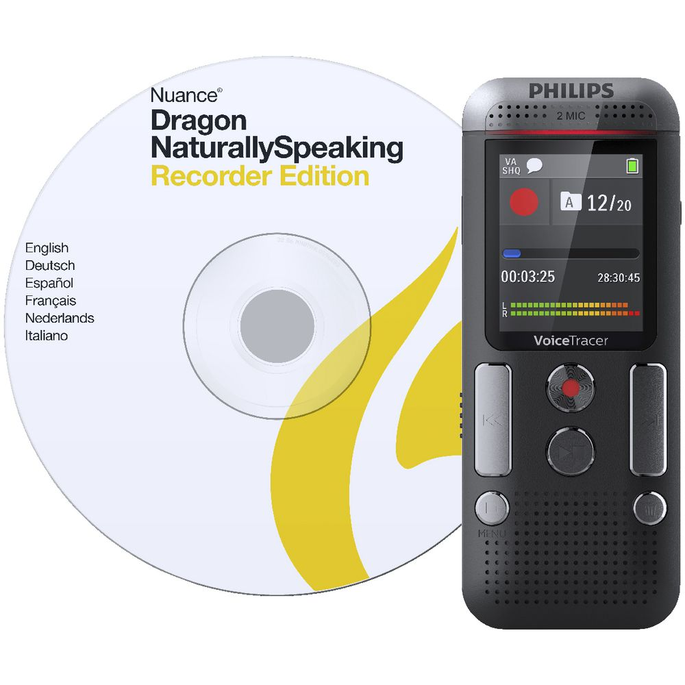 Philips Voice Tracer Audio Recorder with Dragon Speech 2710