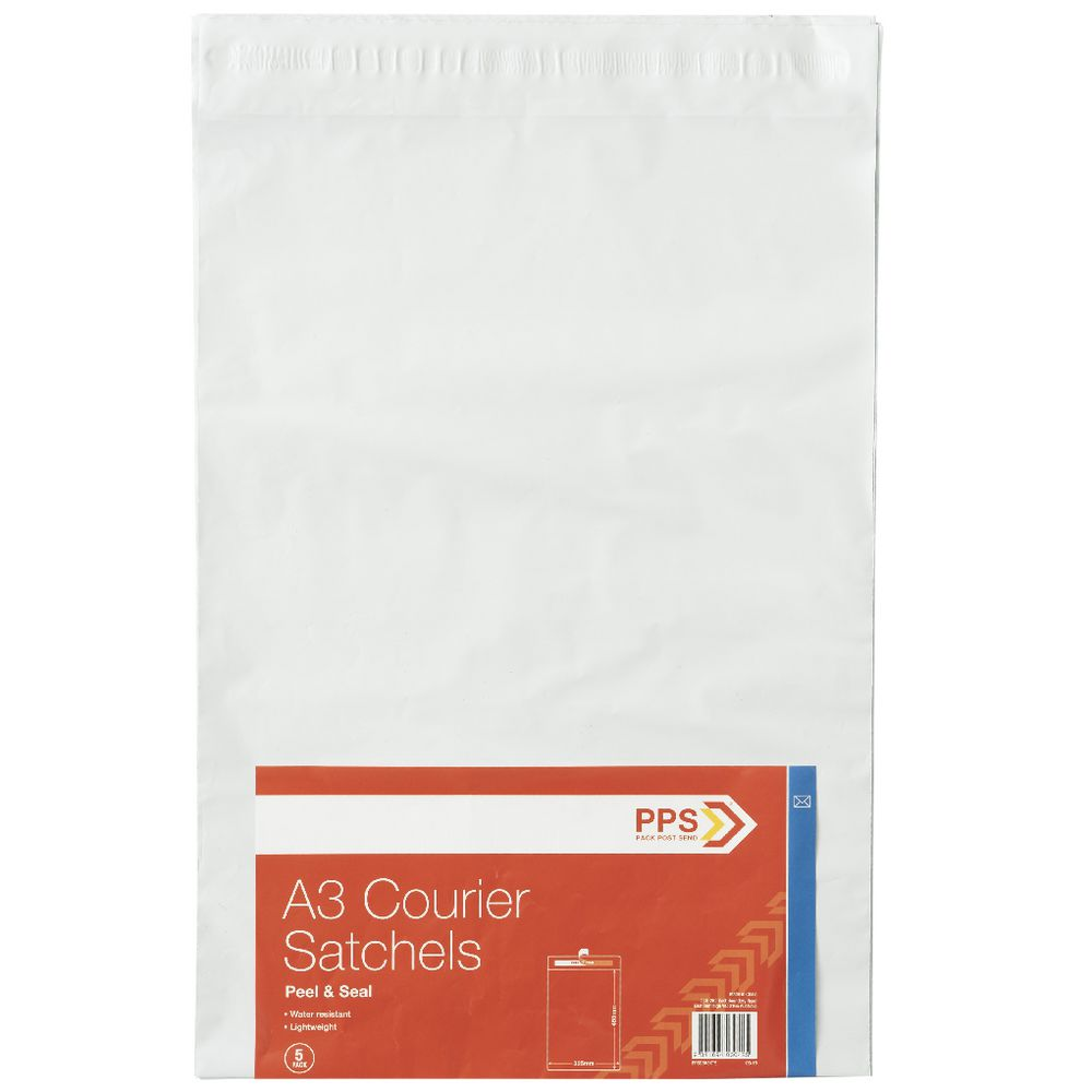 PPS A3 Plastic Courier Bags 5 Pack   Officeworks d077aea2e4