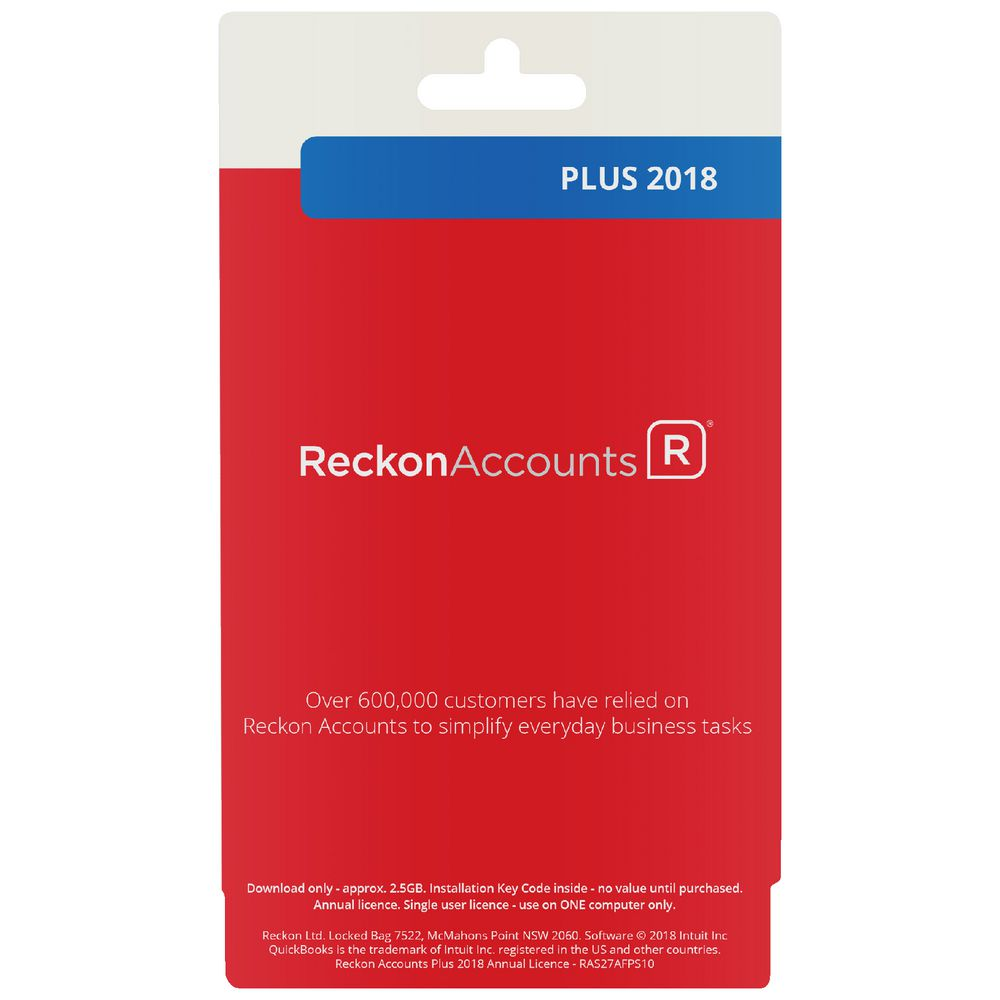 Reckon Accounts Plus 2018 12 Months 1 PC Card | Officeworks