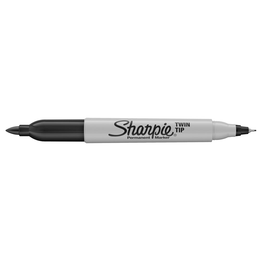 Sharpie Twin Tip Permanent Markers Black 12 Count Fine And Ultra Fine