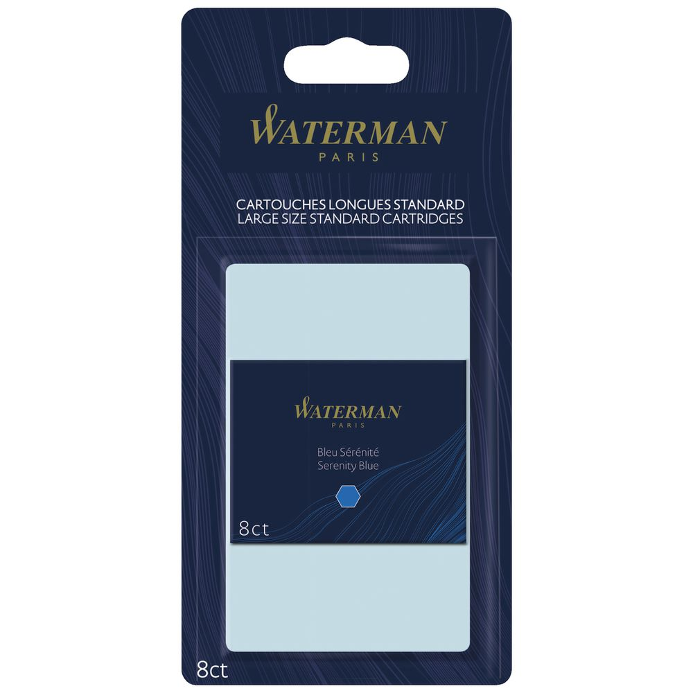 8 Count Long Serenity Blue Waterman Fountain Pen Ink Cartridges