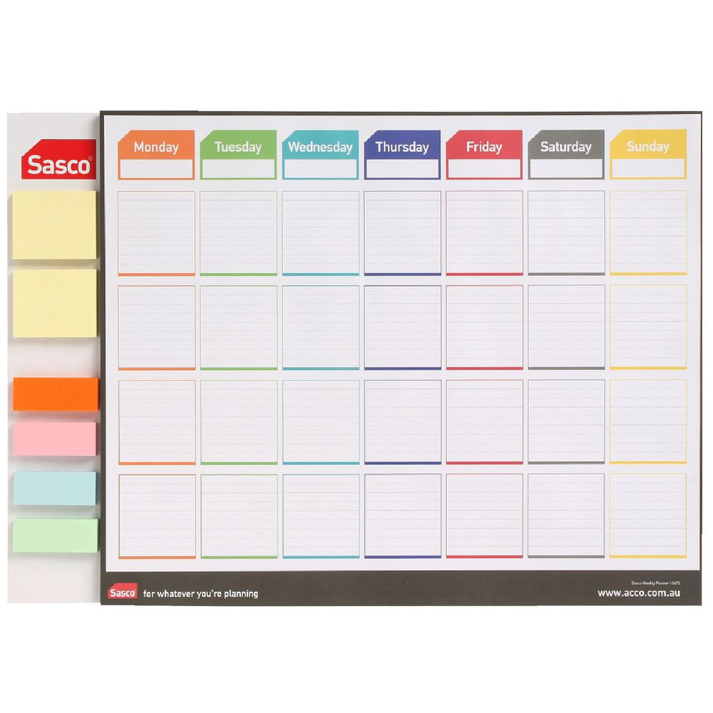 sasco weekly planner with sticky notes officeworks. Black Bedroom Furniture Sets. Home Design Ideas
