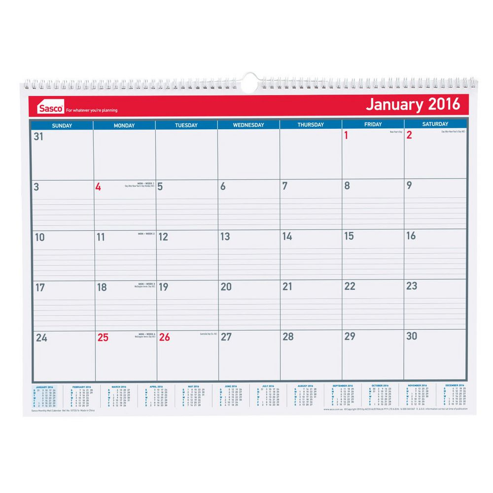 Year Calendar Officeworks : Sasco monthly wall calendar officeworks