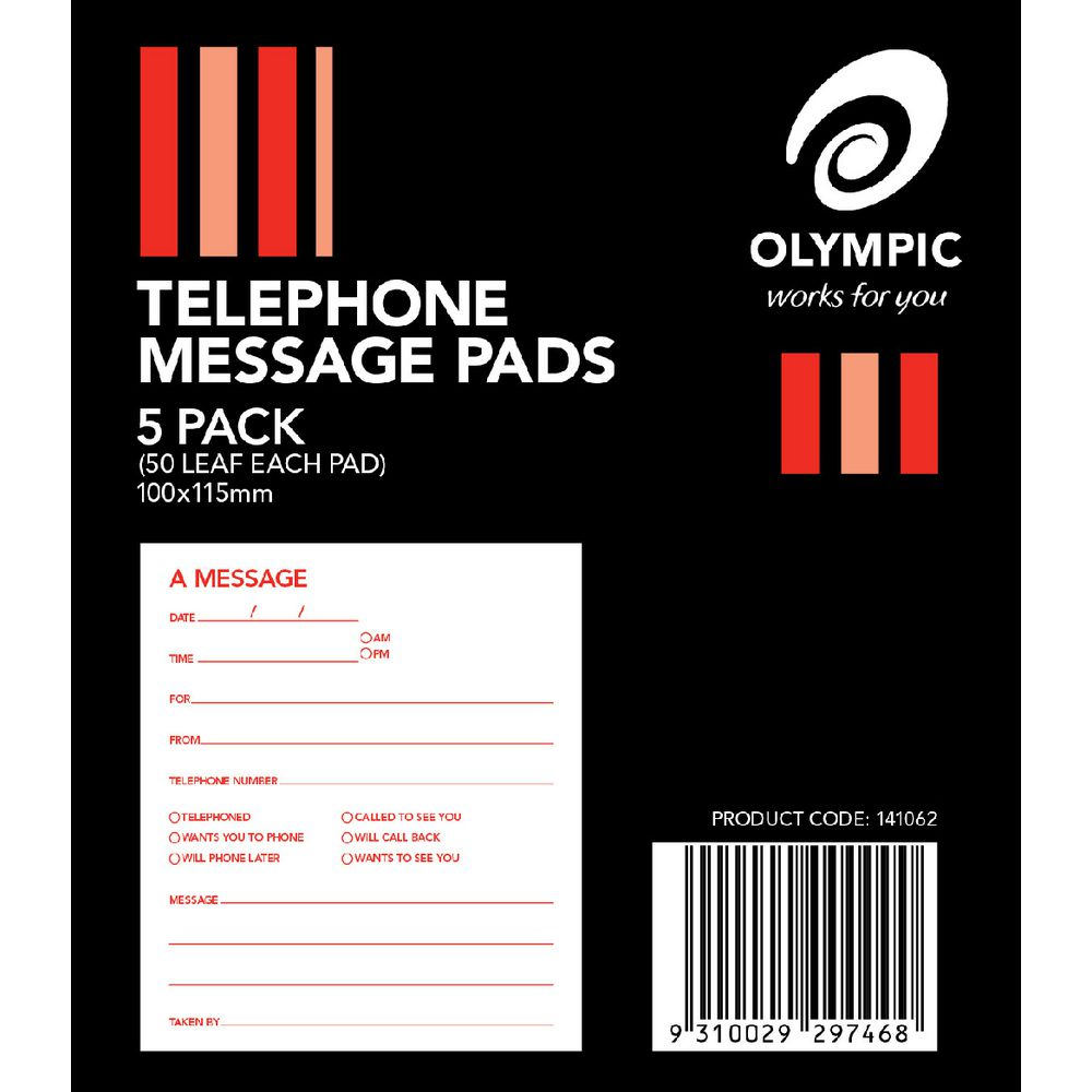 Olympic Telephone Message Pads 5 Pack | Officeworks