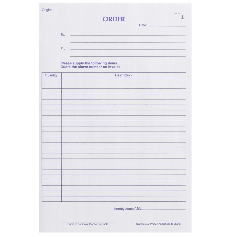 Olympic No740 Carbonless Duplicate Order Book Officeworks