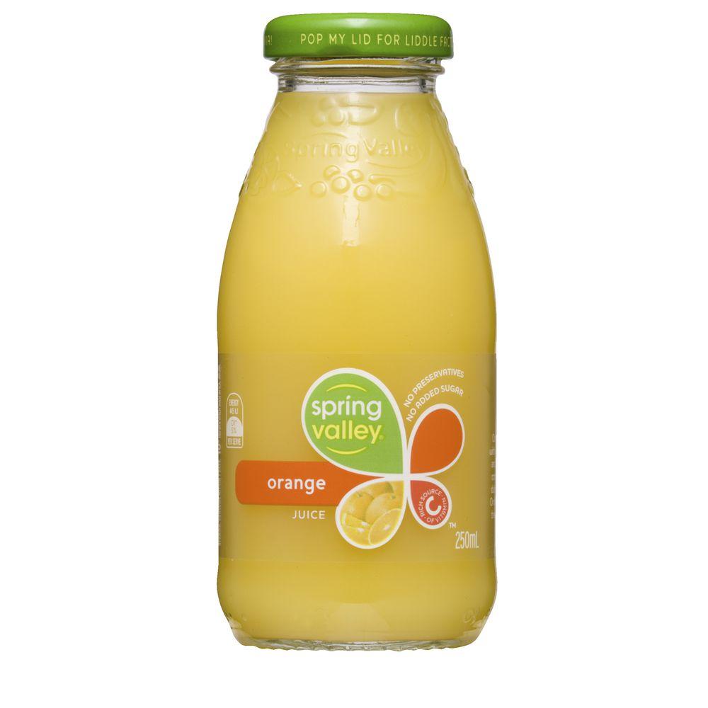 Spring Valley Orange Juice 250mL Glass Bottle 30 Pack ...
