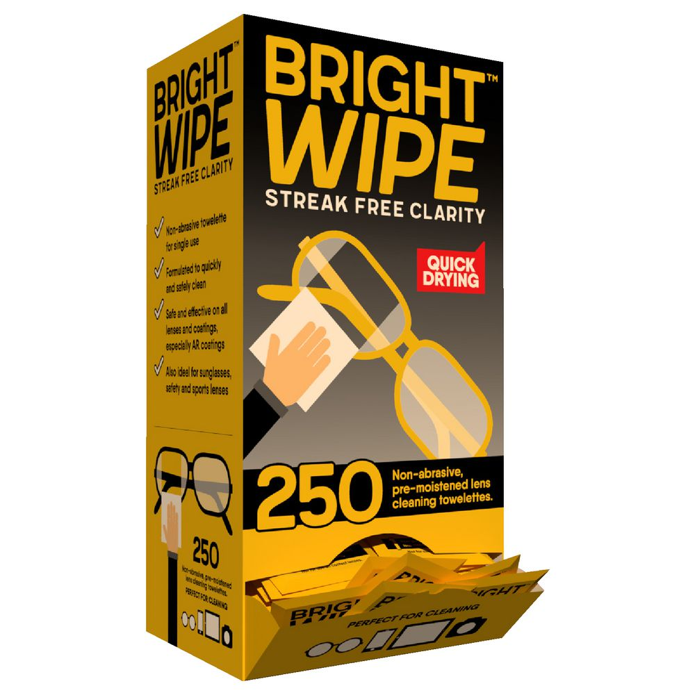Brightwipe Lens Cleaner Wipes 250 Pack | Officeworks