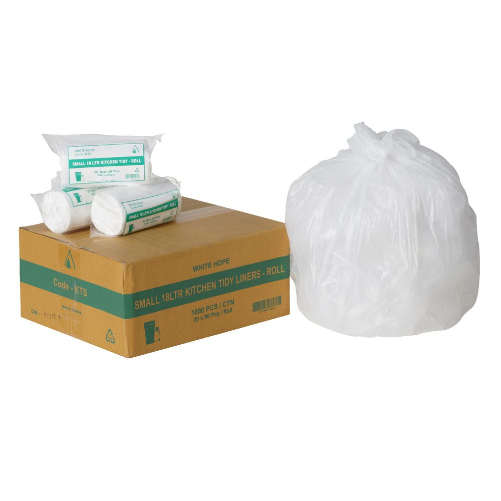 White Kitchen Bin tailored packaging kitchen bin liners 18l 1000 pack white