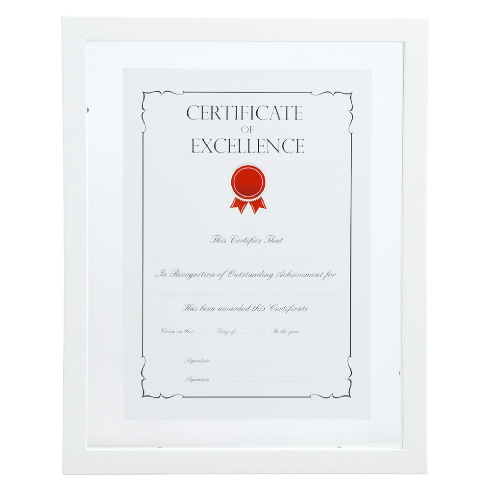 A4 Floating Certificate Frame White Officeworks