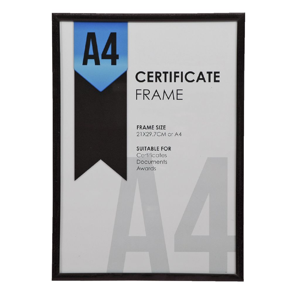 a4 certificate frame black officeworks. Black Bedroom Furniture Sets. Home Design Ideas
